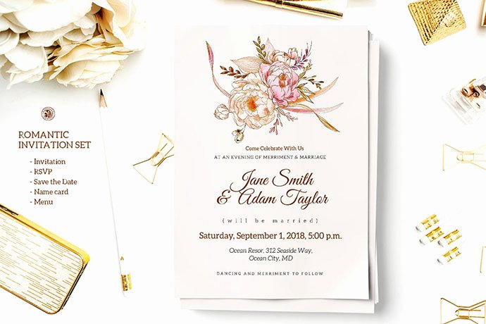 Wedding Invitations Photoshop Template Elegant 25 Gorgeous Psd Wedding Invitation Templates – Bashooka