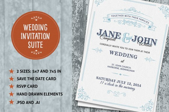 Wedding Invitations Photoshop Template Elegant Wedding Invite Suite Wedding Templates Creative Market