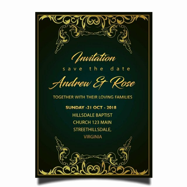 Wedding Invitations Photoshop Template Fresh Royal Wedding Invitation Card Template Psd with Gold Frame
