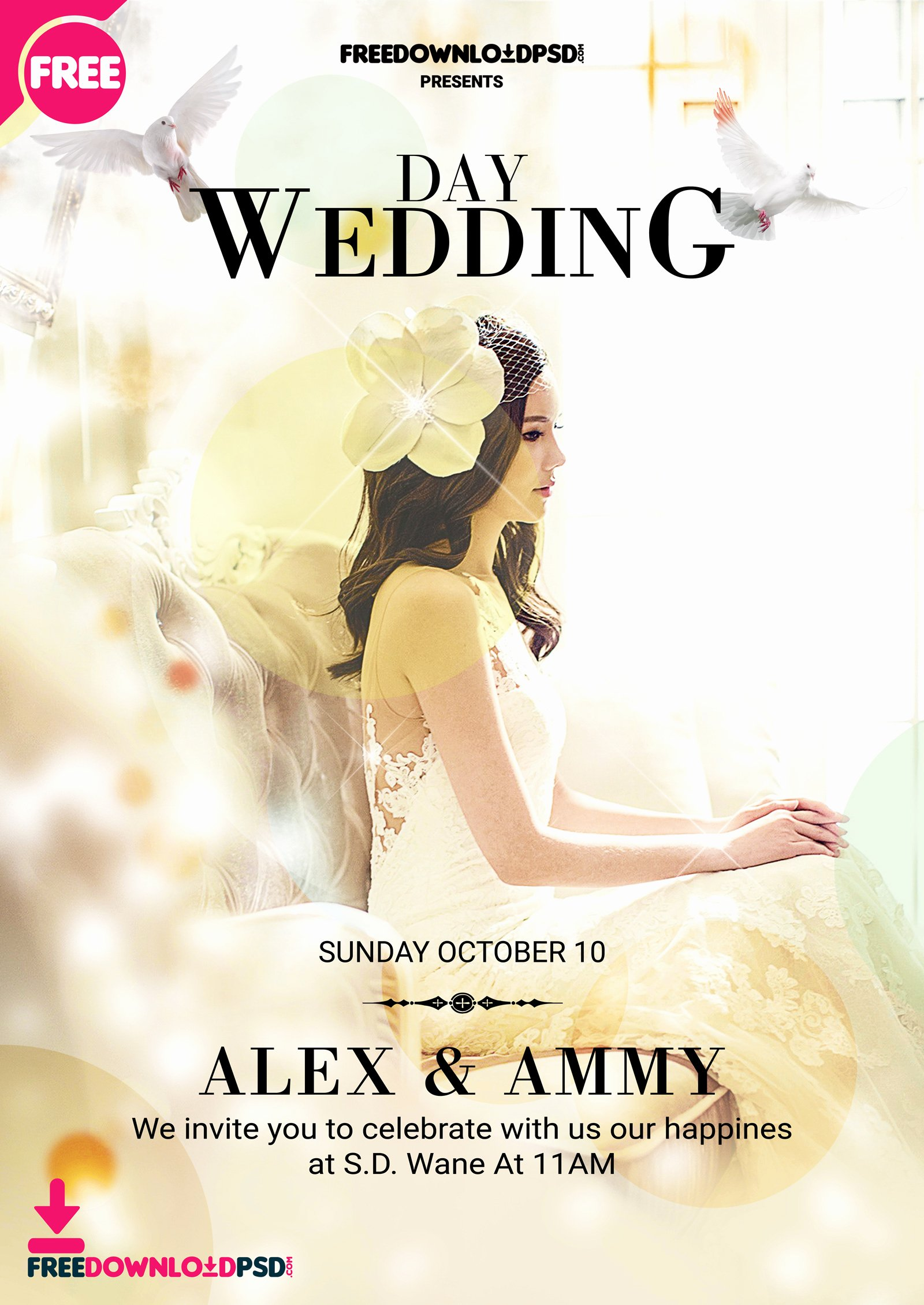 Wedding Invitations Photoshop Template Lovely Wedding Flyer Template Psd