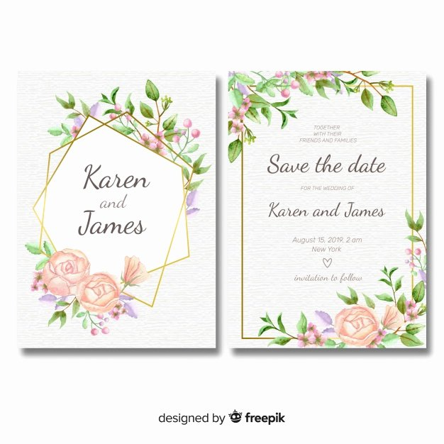 Wedding Invitations Photoshop Template Unique Floral Wedding Invitation Template with Golden Frame