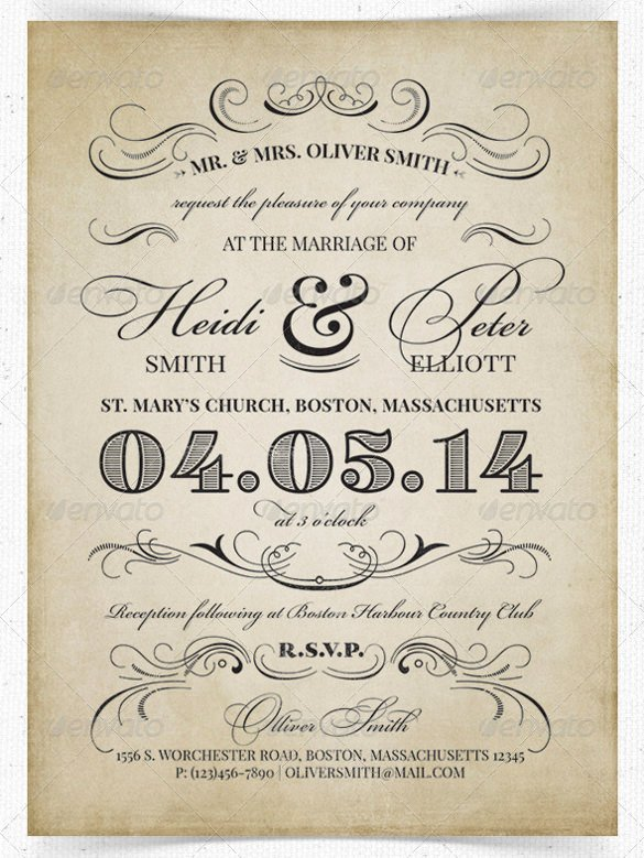 sample vintage wedding invitation