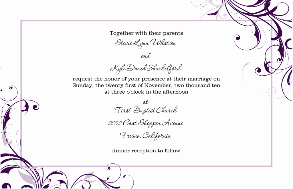 Wedding Invitations Template Free Fresh 6 Wedding Invitation Templates – Fine Word Templates