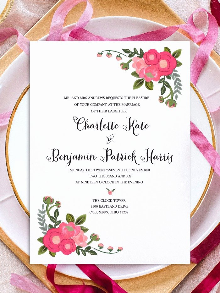 Wedding Invitations Template Free Luxury Print Pink Flowers Free Printable Invitation Templates