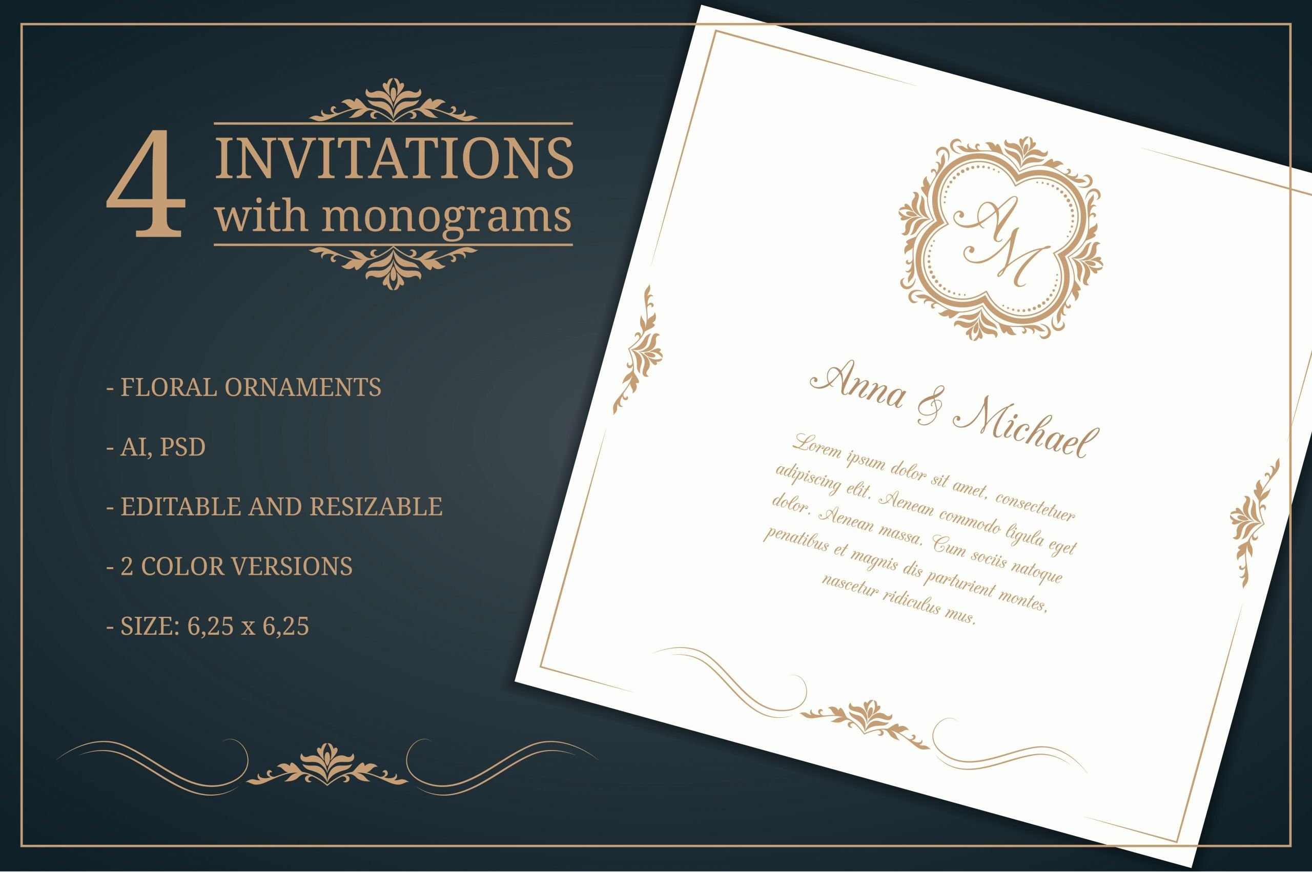 Wedding Invitations Template Free Luxury Wedding Invitations with Monograms Wedding Templates