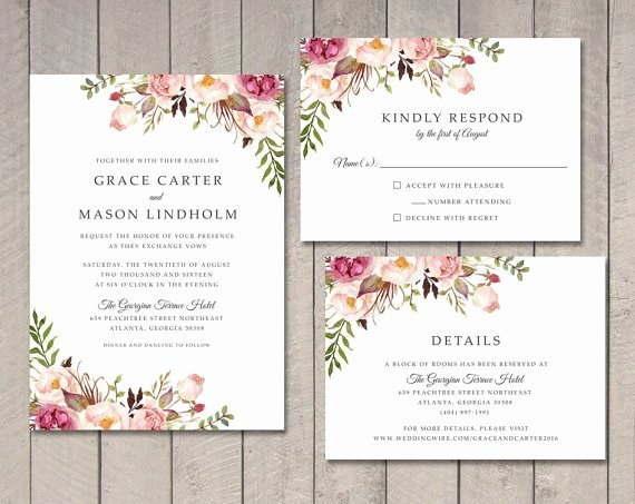 Wedding Invitations Template Free New Floral Wedding Invitation Rsvp Details Card Ca0761 In