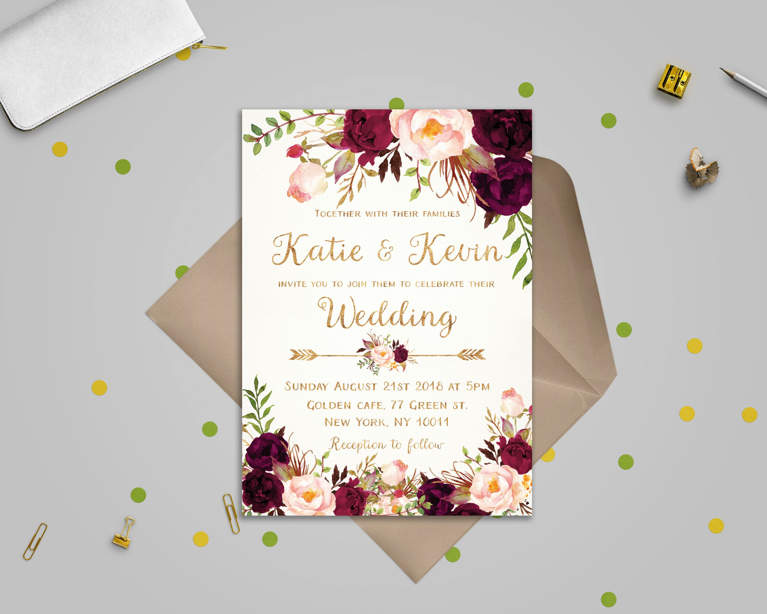 Wedding Invitations Template Free New Floral Wedding Invitation Template Wedding Invitation