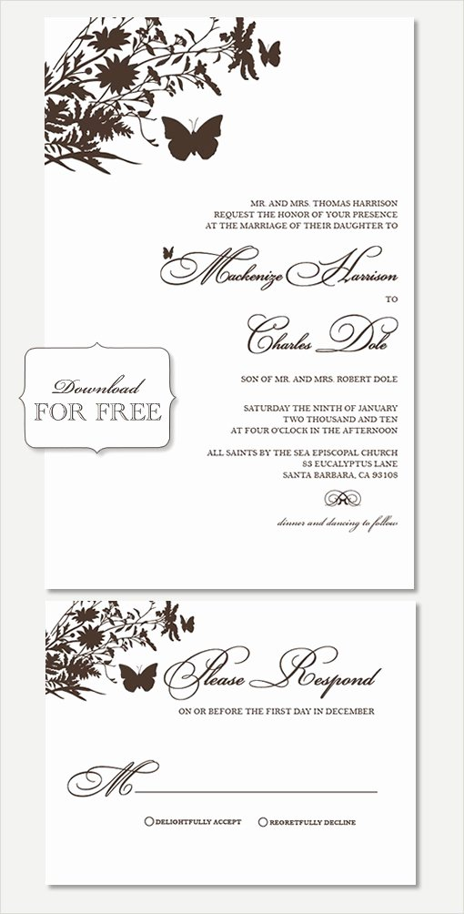 Wedding Invitations Template Free Unique Free Printable Wedding Invitation Templates