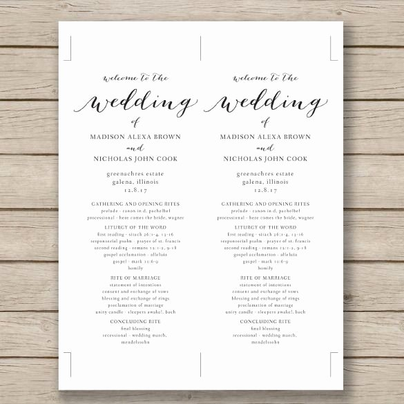 Wedding Invitations Word Template Awesome Wedding Program Template – 41 Free Word Pdf Psd