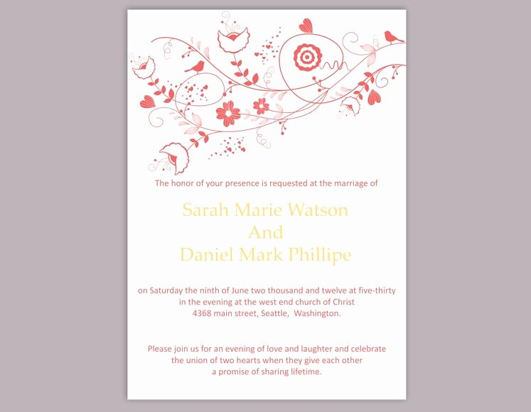 Wedding Invitations Word Template Beautiful Diy Wedding Invitation Template Editable Word File Instant