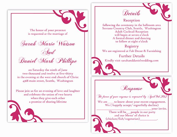Wedding Invitations Word Template Beautiful Diy Wedding Invitation Template Set Editable Word File