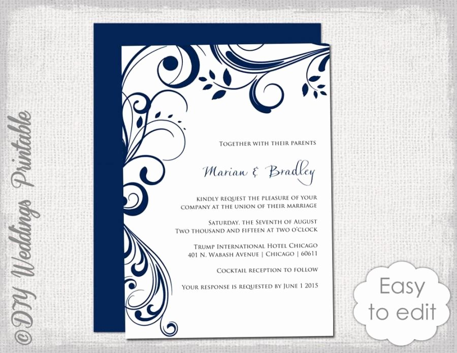 "Wedding Invitations Word Template Beautiful Navy Wedding Invitation Template ""scroll"" Printable"