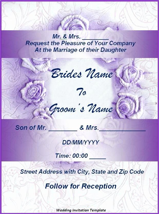 Wedding Invitations Word Template Beautiful Wedding Invitation format