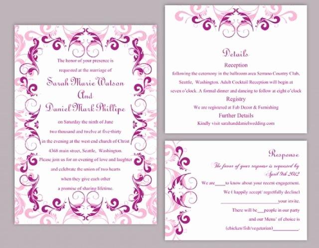 Wedding Invitations Word Template Fresh Diy Wedding Invitation Template Set Editable Word File