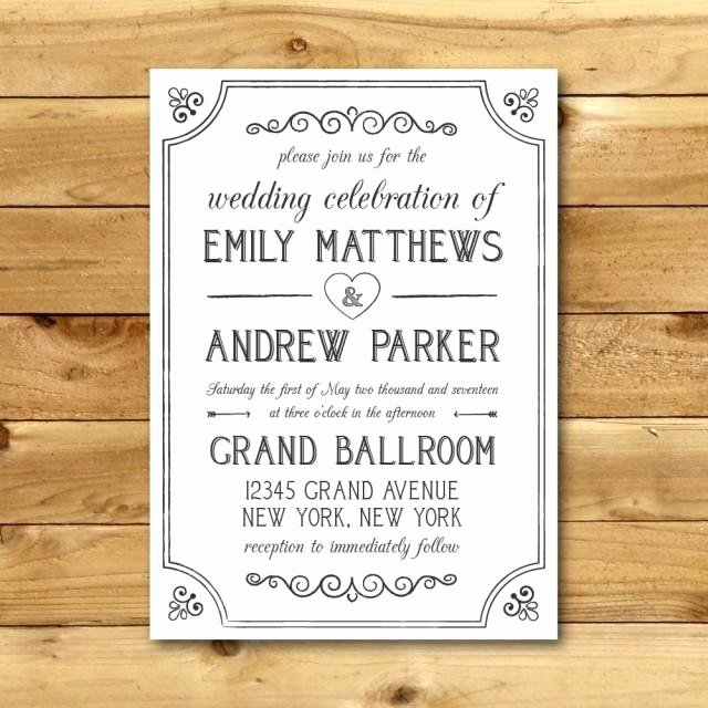 Wedding Invitations Word Template Fresh Printable Vintage Style Wedding Invitation Template Dark