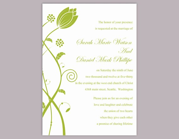 Wedding Invitations Word Template Inspirational Diy Wedding Invitation Template Editable Word File Instant