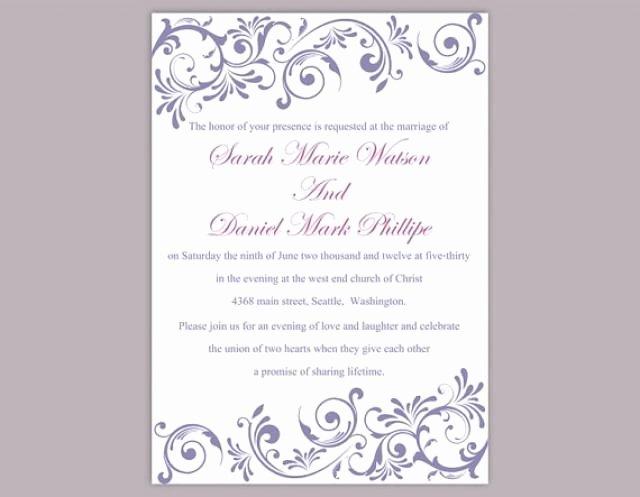 Wedding Invitations Word Template Luxury Diy Wedding Invitation Template Editable Text Word File