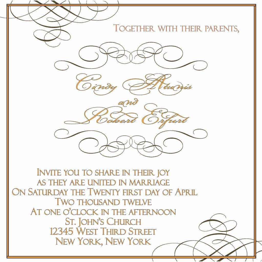 Wedding Invitations Word Template Luxury Wedding Invitation Word Templates