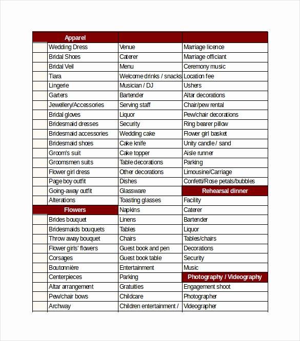 Wedding Plan Checklist Template Best Of Wedding Checklist Template