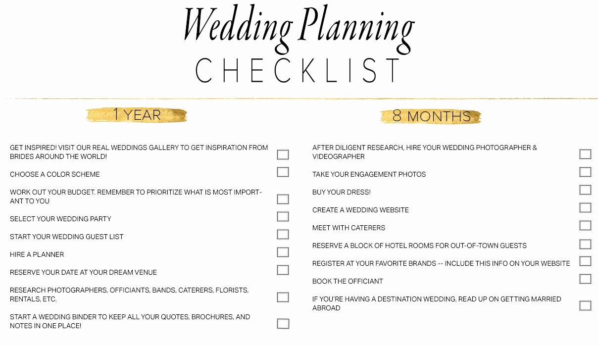 Wedding Plan Checklist Template Inspirational 11 Free Printable Wedding Planning Checklists