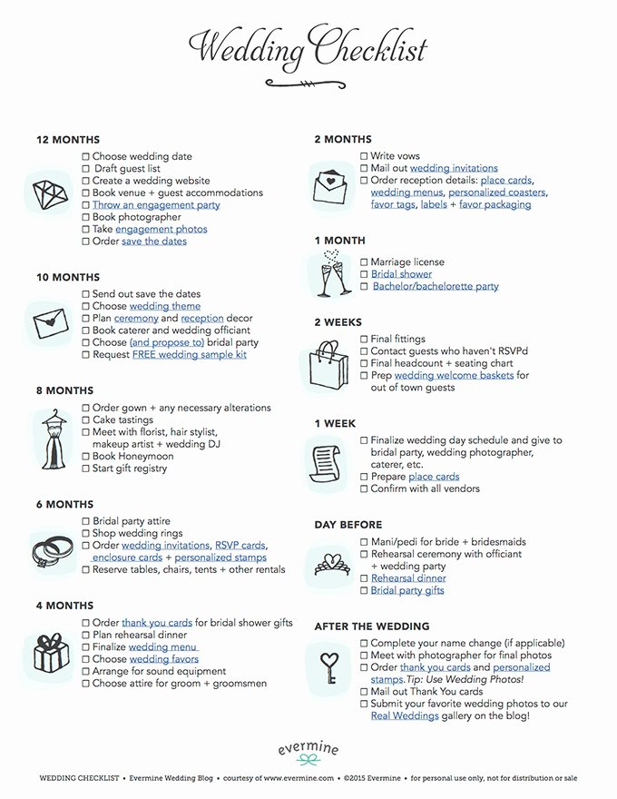 Wedding Plan Checklist Template Lovely Free Printable Wedding Checklist Evermine Weddings