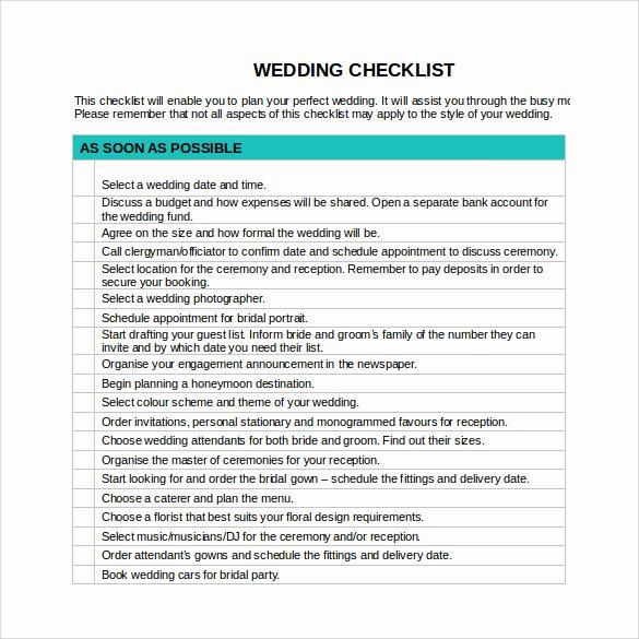 Wedding Plan Checklist Template Luxury Sample Wedding Checklist 14 Documents In Pdf Word