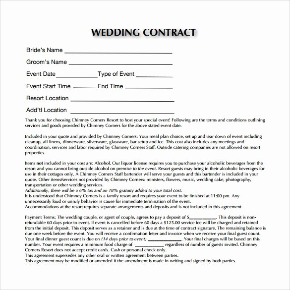 Wedding Planner Contract Template Free Awesome Wedding Contract Template 23 Download Documents In Pdf