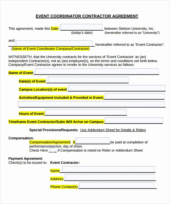 Wedding Planner Contract Template Free Best Of event Contract Template 25 Download Documents In Pdf