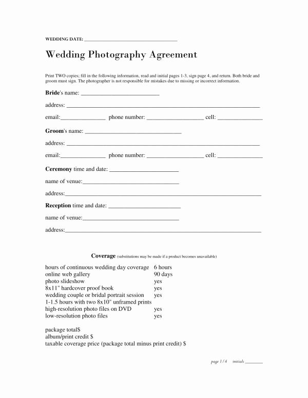 Wedding Planner Contract Template Free Best Of Free 11 Wedding Planner Contract Template In Pdf