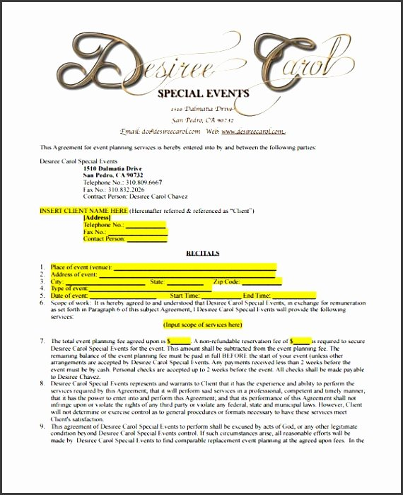 Wedding Planner Contract Template Free Elegant 11 Party Planner Example Sampletemplatess Sampletemplatess