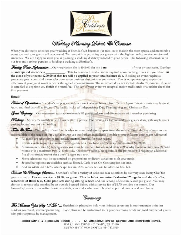 Wedding Planner Contract Template Free Elegant Free 14 Wedding Contract Samples In Word Pdf