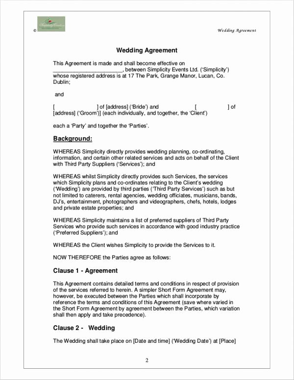 Wedding Planner Contract Template Free Elegant Free 5 Wedding Planner Contract Samples & Templates In
