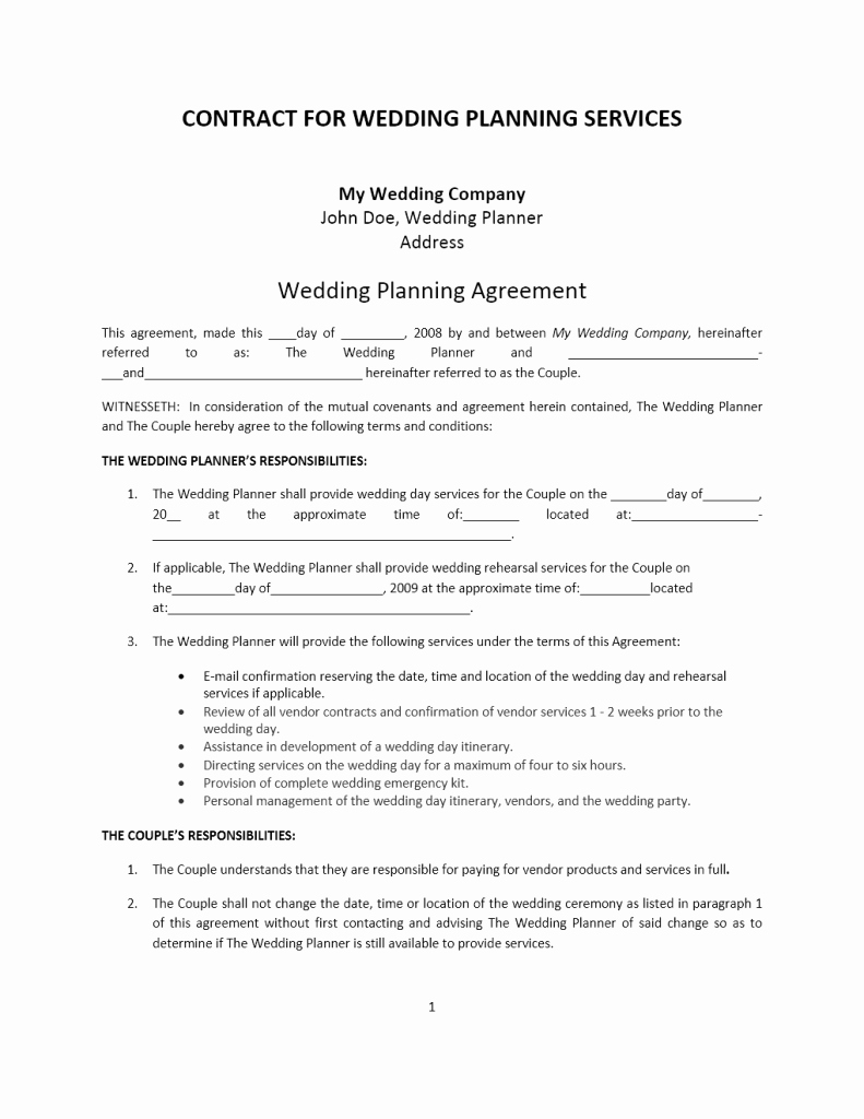 Wedding Planner Contract Template Free Elegant Wedding Planner Contract Template