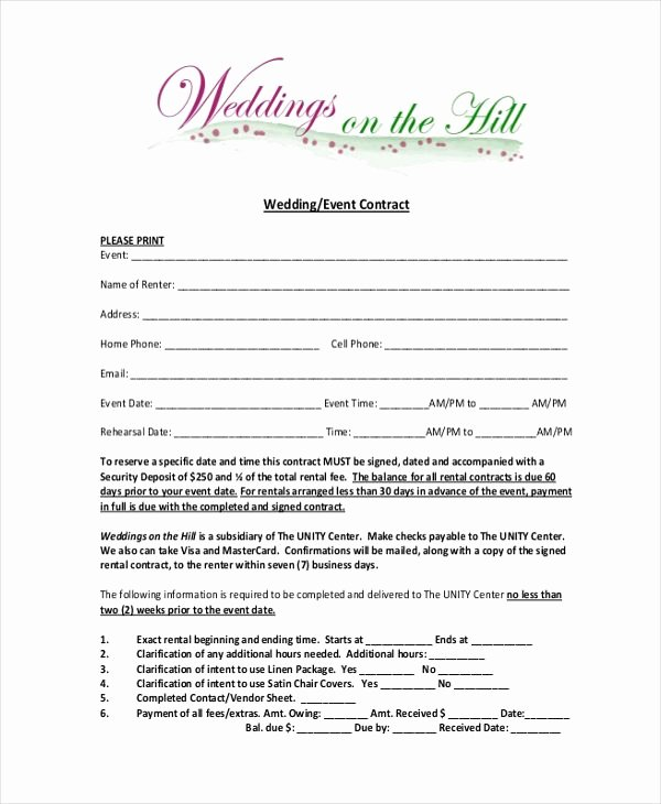 Wedding Planner Contract Template Free Fresh Image Result for Wedding Planner Contract form