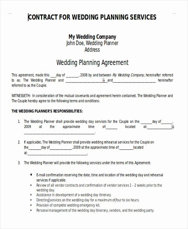 Wedding Planner Contract Template Free Inspirational 7 Wedding Planner Printable Sample Examples In Word Pdf