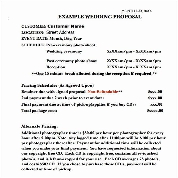 Wedding Planner Proposal Template Lovely Free 8 Sample Wedding Proposal Templates In Pdf