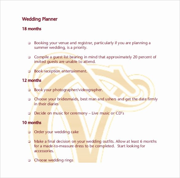 Wedding Planner Template Free Download Lovely Wedding Planner Template – 10 Word Pdf Documents