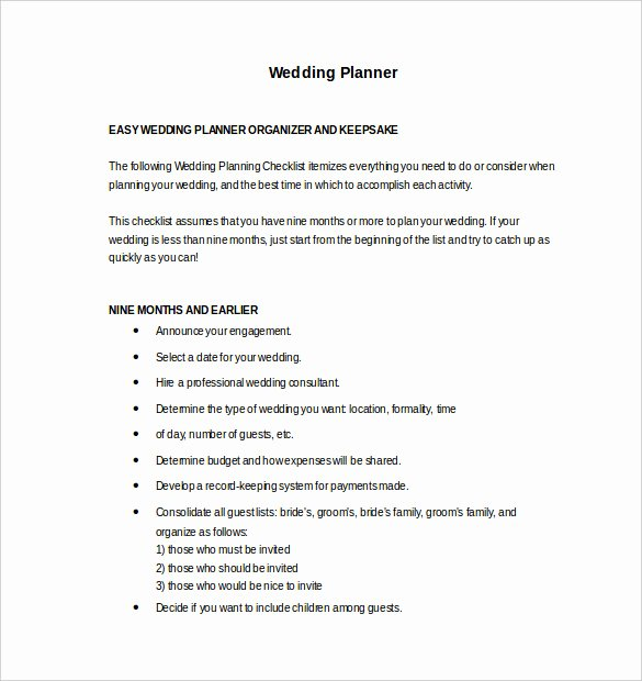 Wedding Planner Template Free Download New Wedding Planner Template – 10 Word Pdf Documents