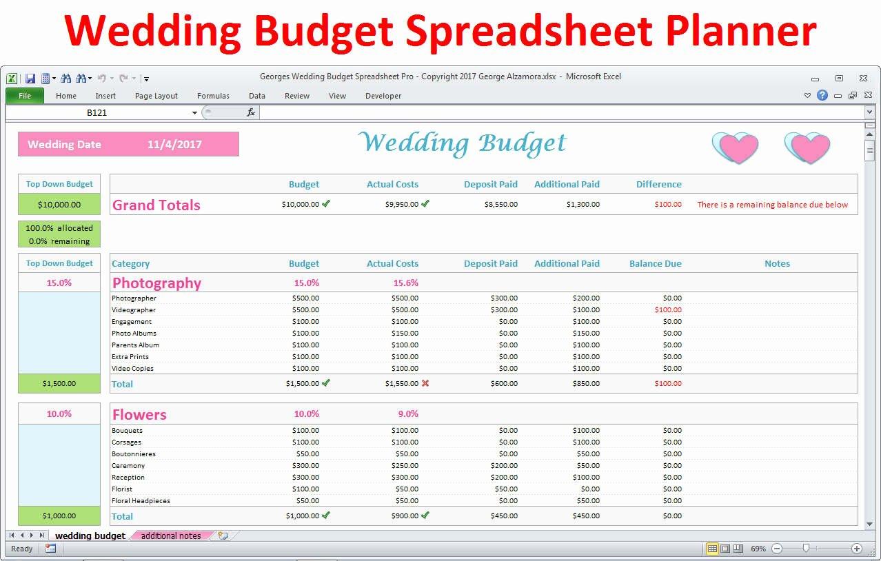 Wedding Planner Template Free Inspirational Wedding Planner Bud Template Excel Spreadsheet Wedding