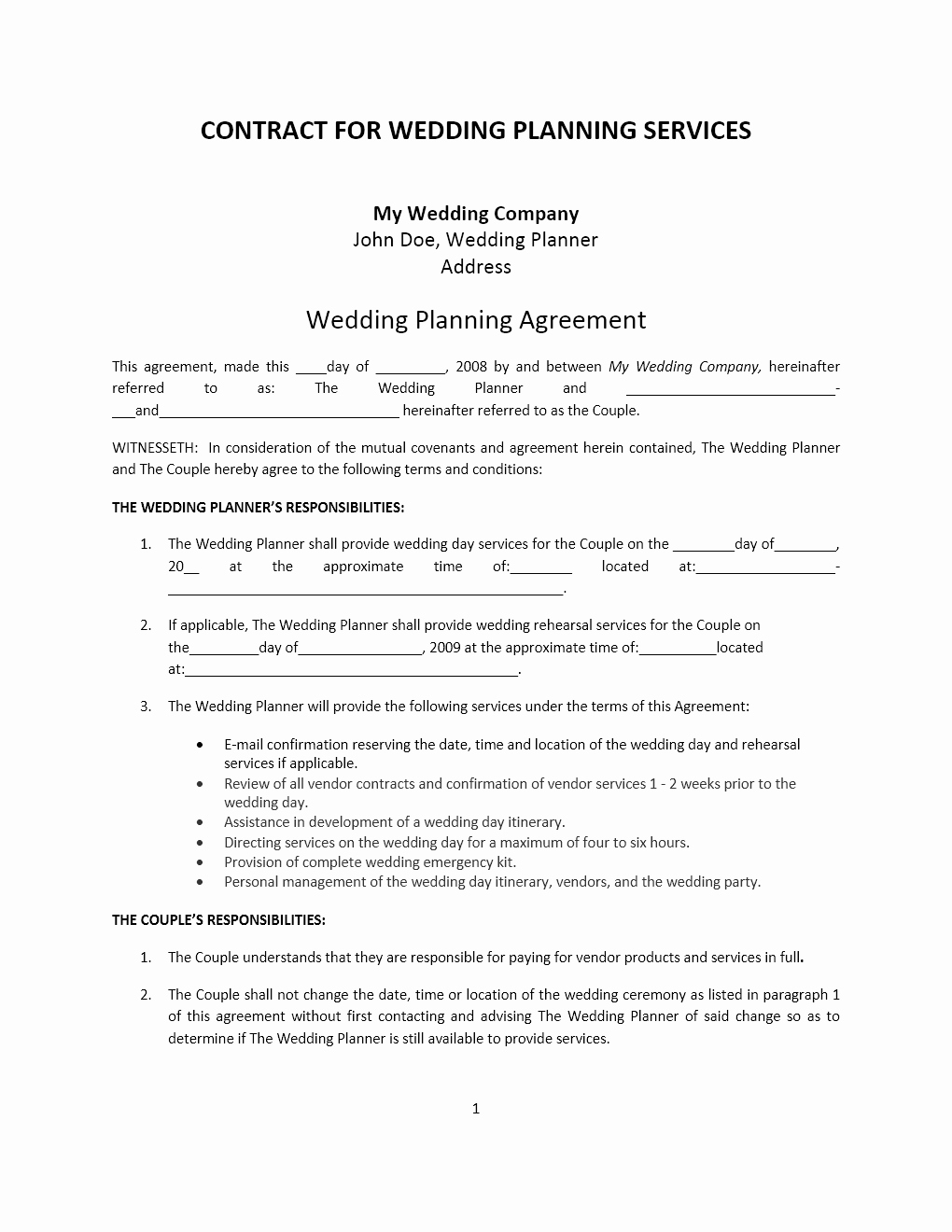 Wedding Planner Template Free New Wedding Planner Contract Template