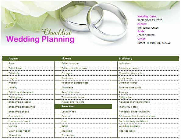 Wedding Planner Template Word Beautiful Ms Word Wedding Planning Checklist
