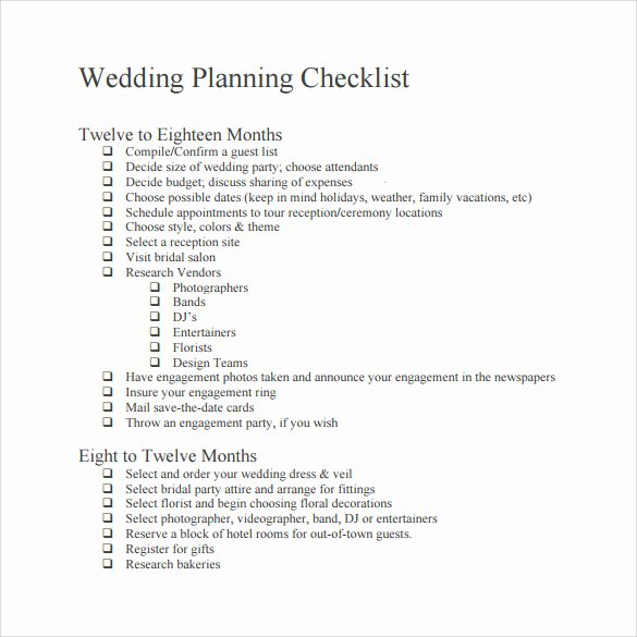 Wedding Planner Template Word Best Of Sample Wedding Checklist 14 Documents In Pdf Word