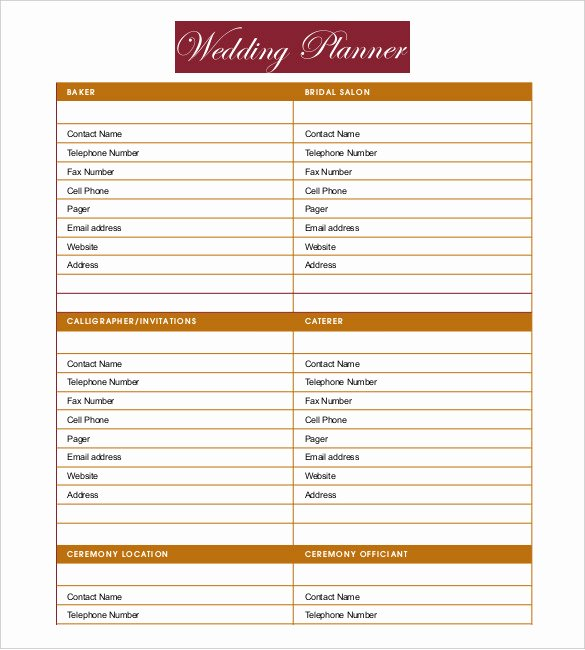 Wedding Planner Template Word Fresh 13 Wedding Planner Templates – Pdf Word format Download
