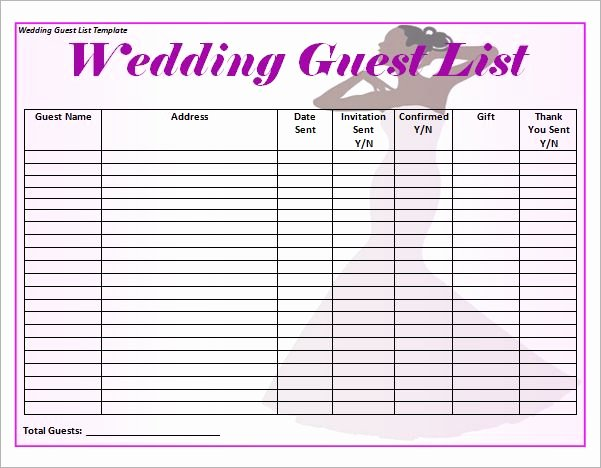 Wedding Planner Template Word New Blank Wedding Guest List Template Word In 2019