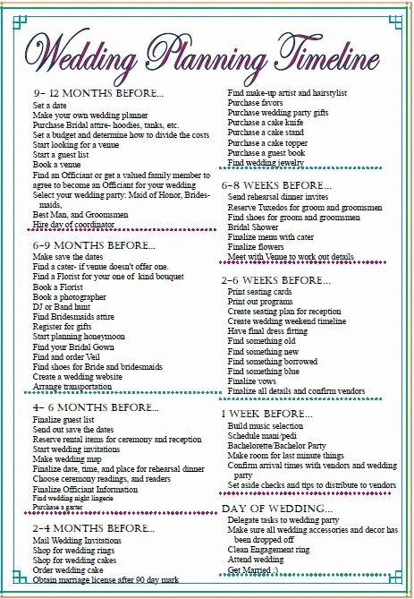 Wedding Planner Timeline Template Best Of Wedding Checklist Timeline Printable