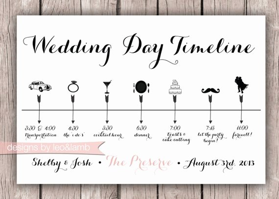 Wedding Planner Timeline Template Elegant Custom Wedding Timeline 5x7 Digital File