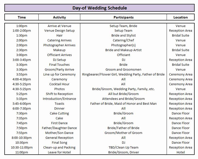 Wedding Planner Timeline Template Fresh Wedding Day Timeline Template