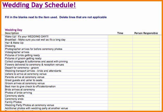 Wedding Planner Timeline Template Inspirational Wedding Day Schedule Template