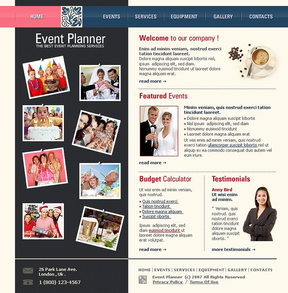 Wedding Planner Website Template Beautiful event Planner Website Template