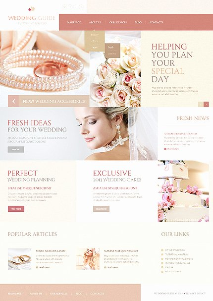 Wedding Planner Website Template Beautiful Wedding Guide Joomla Template